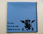 Hankie- YODA Star Wars shown on super soft blue cotton hanky- or choose from white or solid colors or plaids shown in pics