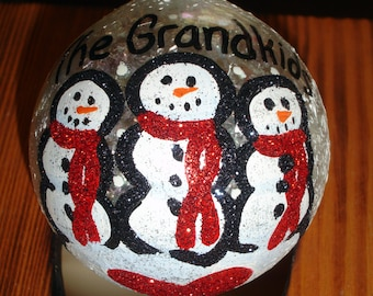 "Hand Painted snowmen ""The Grandkids"" Christmas ornament"