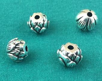 20pcs Antique Silver Solid Lotus Flower Bud Spacer Bead Charm Pendant 10mm M401-6