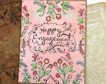 Happy Engagement Card, Engagement Greeting Card, Paper goods, bridal shower card