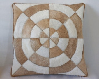 Cowhide Pillow - Caramel White Patchwork Cushion - 16 x 16 in