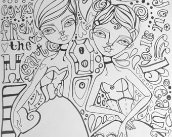 Adult Coloring Pages in Art Journaling Style