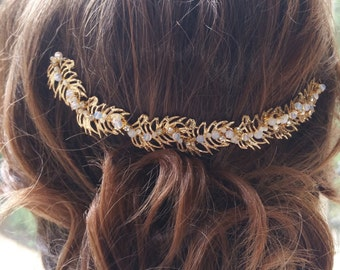 Bridal hair vine in gold with opalite beads- wedding wreath headpiece - Opaline