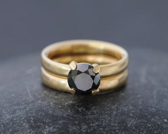 Black Diamond Ring - 18K Gold Black Diamond Engagement Ring - Solitaire Black Diamond Ring - Handmade Black Diamond Ring - FREE SHIPPING