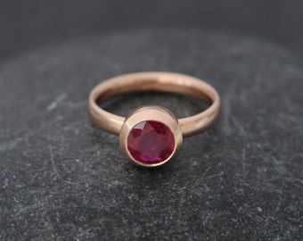 Solitaire Ruby Ring in 18k Rose Gold - Ruby Engagement Ring in 18k Rose Gold - Rose Gold Ruby Ring - Made to Order - FREE SHIPPING
