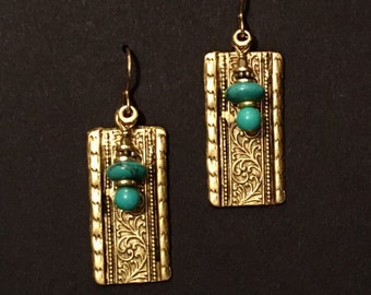 Artisan earring #11...Turquiose and Gold plate