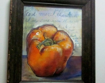 """Woohoo Weekend Sale Pretty Orange Pepper Kitchen painting Original painting with frame 8""""x10"""""""
