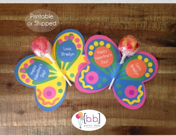 Butterfly Lollipop Personalized Valentine's Day Cards-Printable or Shipped