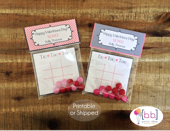 Valentine's Day Card- Tic Tac Toe- Treat Bag Topper- Navy & Pink- Printable or Shipped