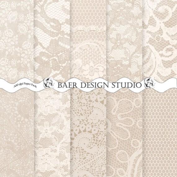 Lace Digital Paper Wedding Digital Paper Ivory by BaerDesignStudio