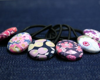 Pony Tail Holders - Set of 6 Mixed Liberty of London Pinks - Snag Free Elastics - Hair Ties Hair Elastics