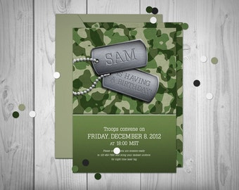 Camoflauge // American Party Printable // Custom Invitation // Print-it-yourself