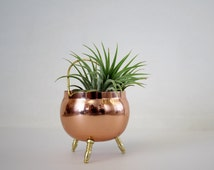 Vintage Miniature Copper Colored Footed Flower Pot - French Country Decor - Small Tri-Footed Cauldron Pot
