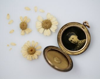Antique Edwardian Era Locket - Wightman & Hough Quarter Gold Locket with Paste Stone Setting - Monogram Double Photo Locket