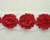 Shabby Chiffon Rose Trim, Shabby Flower, Crimson, 1 yard