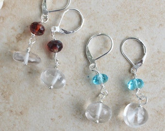 Natural quartz crystal Earrings, Long Silver Gemstone Earrings, Czech Crystal, Ocean Blue or red Dangle Earrings 1.5 inches, by Inarajewels