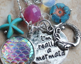 Mermaid Necklace, Beach Jewelry, Charm Necklace, I'm really a mermaid with scales, starfish, czech crystal, czech flower, turtle Inarajewels