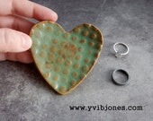 Small Rustic Green Patina Heart Ring Holder Dish Distressed Look Anniversary Pottery Tea Bag Holder Spoon Rest Birthday Gift for Mother