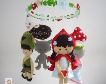 Little Red Riding Hood Baby Crib Felt Mobile / hanging mobile / ceiling mobile / nursery decor