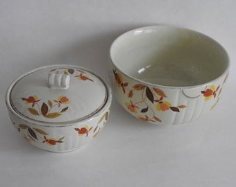 Hall China Autumn Leaf Covered Bowl and Mixing Bowl- Instant Collection