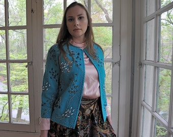 Bright Blue Beaded Fifties Sweater/Vintage 1950s/Gene Shelly California/Wool Cardigan Sweater/Size Small