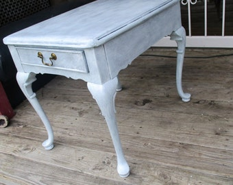 shabby chic cabriole leg side table one drawer all wood hand painted queen ann legs white romantic accent