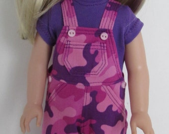 Pink and Purple Camouflage Overalls and Purple T-shirt for 14.5 Inch Dolls  Fits WellieWishers™
