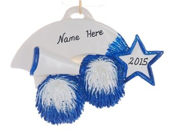Cheer Leader ornament - Christmas ornament personalized free - Blue and White cheer ornament - remember that special year cheering (90)