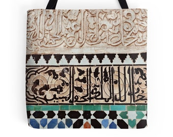Tote Bag, Moroccan Tiles, Morocco, Pattern, Ethnic, Mosaic, Islamic Art, Marrakech, Photo Bag, Travel Bag, Boho Handbag, Bohemian, For Her