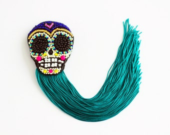 Sugarskull brooch, Mexican inspired pin, day of Dead accessory, Frida Kahlo brooch, Sea green fringe brooch - MADE TO ORDER