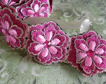Hot Pink Stitched Floral Trim
