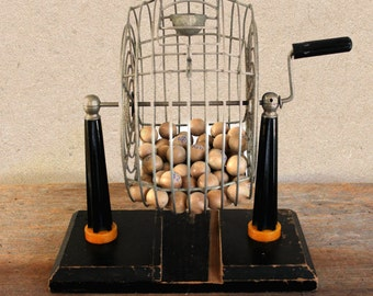 vintage large bingo cage with bakelite black & yellow stand and handle, wooden base, 1940's bingo cage, antique bingo