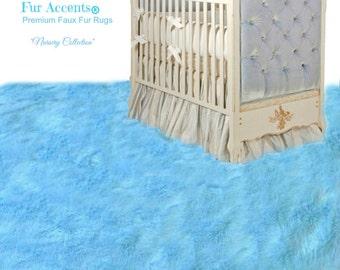 Faux Fur Area Rug   Rectangle   Shaggy Soft Light Blue   Designer Fur Rugs  Fur