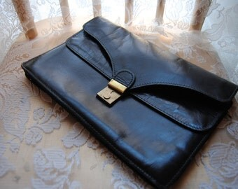 Genuine Leather Lock and Latch Clutch