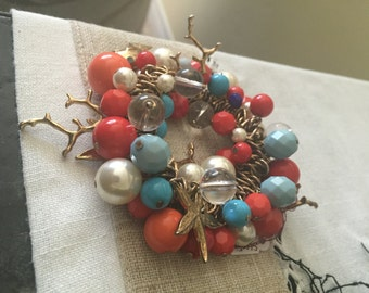 Vintage Ocean Beach Bracelet Jewelry Fish, Coral, and Starfish NEW CONDITION