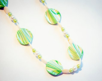 Green and cream shell necklace - shell necklace, light green necklace, cream necklace, marble effect necklace, gift for Mum, gift under 20