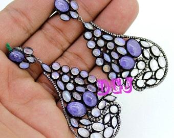 1.30ct rose cut diamonds white rainbow tanzanite victorian silver earring MVE_0050 free shipping