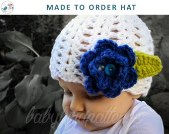 Ring Around the Rosie! Made to Order - Girls crochet flower hat for babies, toddlers and children