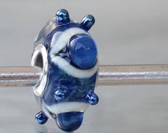 Glass Charm Bead - Vintage range - fits most European bracelet systems , big hole bead, Royal - Blue