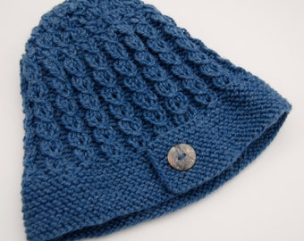 Knit blue hat with button, women's hat, wool hat, knit blue beanie, denim blue beanie, denim blue hat, button hat, button beanie, womens hat