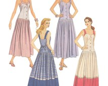 McCalls 6585 Vintage 1990s Sewing Pattern Sizes 8/10/12 Dress Semi Fitted Drop Waist Petite Pleated Skirt Buttons Strap