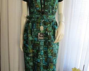 1950's Ladies Fitted Short Sleeve Abstract Print DRESS by EVERGLAZE