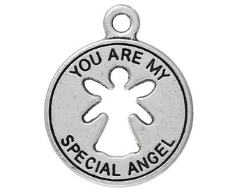 "5 Angel Charms - Antique Silver - ""You Are My Special Angel"" - 22x18mm - Ships IMMEDIATELY from California - SC1294"