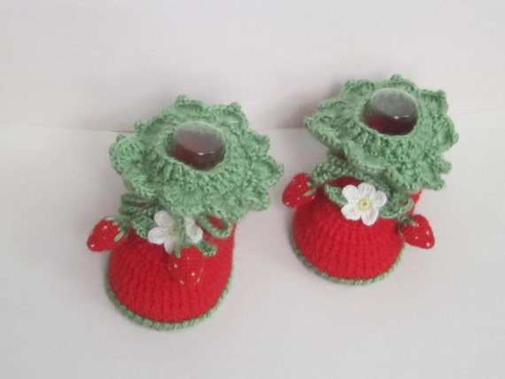 Red Baby Booties Crochet Strawberry Baby Booties by ...