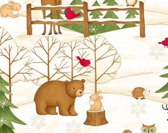 Wilmington Prints - Debbie Mumm - Santa & Friends - Scenic Animals