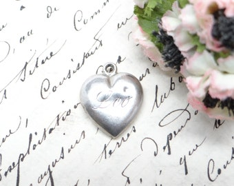 Antique Sterling Heart Charm Engraved LEO, Victorian Silver Puffy Friendship Heart