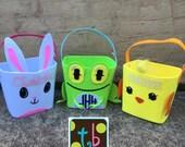 Personalized Monogram Easter Bunny Basket Easter Bucket Easter Basket Children's Easter Basket Chick Frog