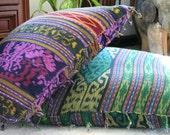 Berry Ikat Pillows, 30 Inch Floor Pillows Or 16 Inch Throw Pillows Hand Woven Boho Pillows, Ethnic Cushions