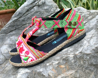 Vegan Womens Sandals Floral T Strap In  Ethnic Hmong Embroidery And Batik - Lindsay