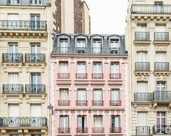 Paris Photography - The Pink Apartments, Fine Art Travel Photograph, Paris Decor, Gallery Wall Art, Paris Art Print, Large Wall Art